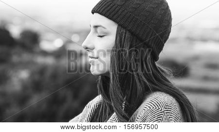 Woman Smiling Mountain Carefree Cloudscape Concept