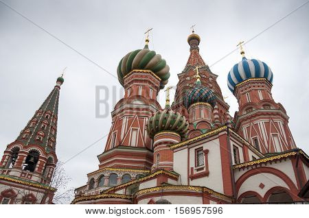 The Cathedral of Vasily the Blessed or Saint Basil's Cathedral on Red Square in Moscow, Russia.