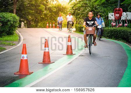 Bangkok Thailand - October 16, 2016 : People using the park, biking, recreation and healthy exercise ,Vachirabenjatas Park (Rot Fai Park) in Bangkok.