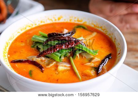 Tom yum soup or spicy soup Popular Food in Thailand