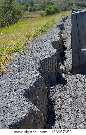 Kaikoura New Zealand - November 15 2016: Massive Cracks have appeared in The Hunderlee Hills on Highway One North Canterbury after the 7.5 Kaikoura Earthquake. The road has slumped 25 centimetres.
