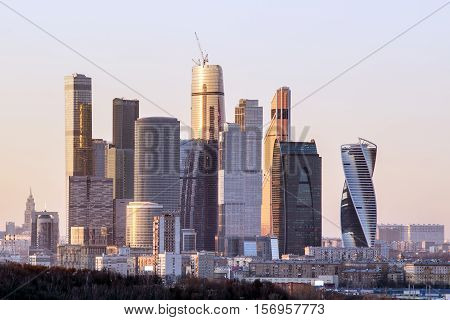 Moscow International Business Center - Moscow City in the evening. View from the observation platform on the Sparrow Hills. Moscow, Russia.