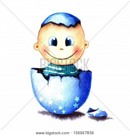 Funny little baby boy was born from an egg hatched. Newborn child watercolor illustration for greeting card, sticker, poster, banner. Isolated on white background. Hand painted watercolor drawing.
