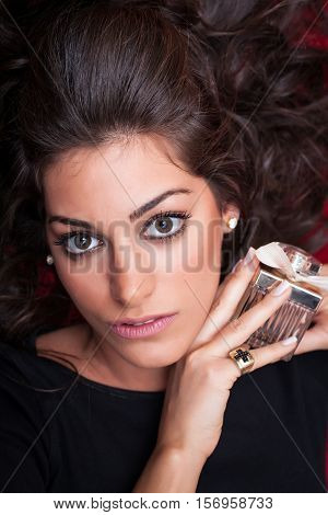 Beautiful Woman Face, Holding Aroma, Close Up