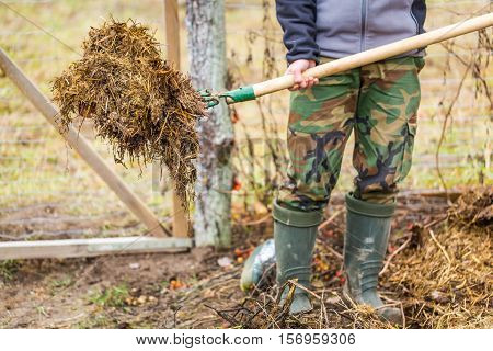 Man Working In Garden With Fork