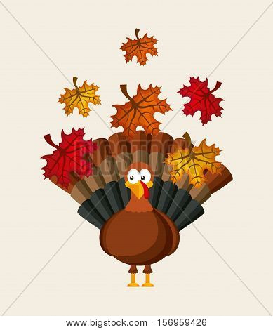 happy thanksgiving card with turkey and autumn dry leaves. colorful design. vector illustration