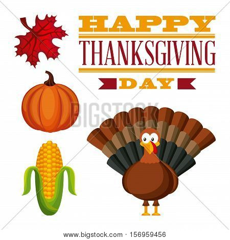 happy thanksgiving card with turkey and pumpkin with autumn leaf. colorful design. vector illustration