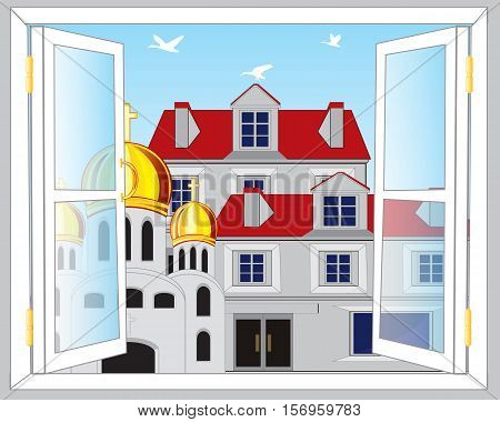 The Open window and view on city.Vector illustration