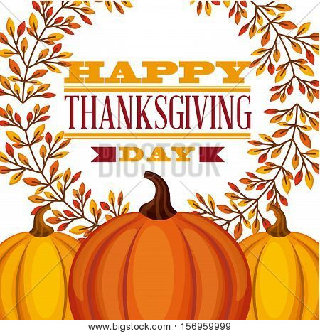 happy thanksgiving card with pumpkins icons and decorative leaves wreath. colorful design. vector illustration