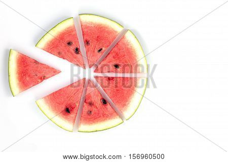 Watermelon slices Watermelon slices arranged on a white background with copy space