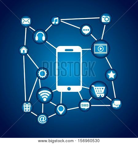 smartphone device with social media icons over white background. vector illustration