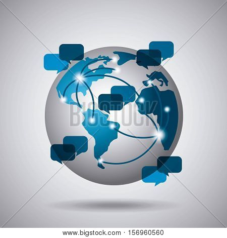 earth sphere with connection arrows and speech bubbles icon over white background. vector illustration