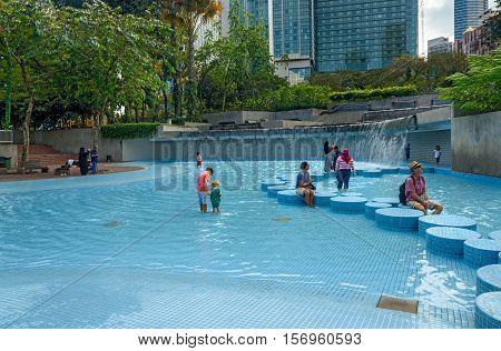 Fountain Waterfall In Klcc Park. Kuala Lumpur