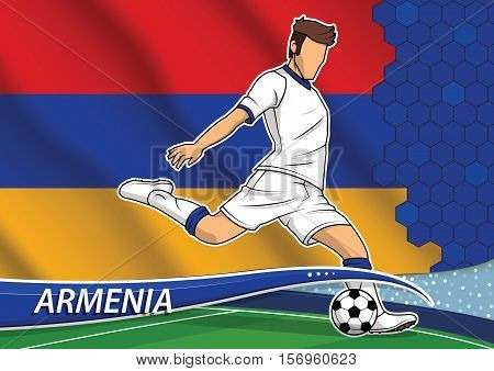 Vector illustration of football player shooting on goal. Soccer team player in uniform with state national flag of Armenia