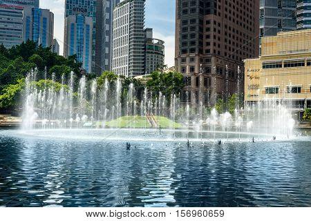 Fountain In Klcc Park. Kuala Lumpur