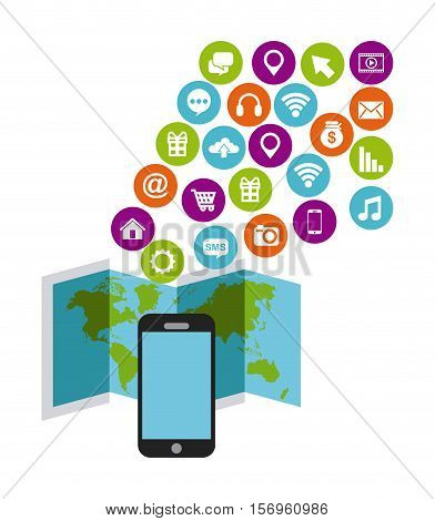 world map and smartphone device with social media icons in colorful circles over white background. vector illustration