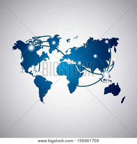 blue world map icon over white background. vector illustration