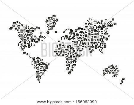 world map with social media icons over white background. vector illustration