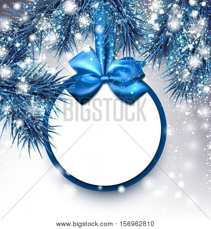 Blue Christmas background with fir branches and bow. Vector illustration.