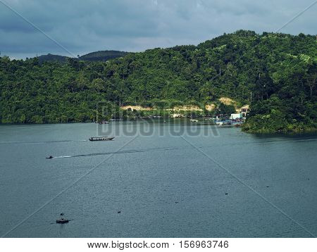 Ratchaprapa or Rajjaprabha Dam Reservoir and Cheow Larn Lake in Khao Sok National Park Surat Thani Thailand