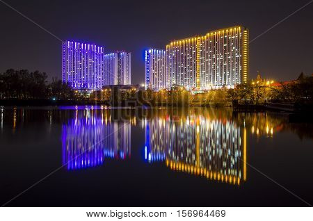 MOSCOW RUSSIA - MAY 9 2014: Night city. Izmailovo Hotel in Moscow Russia. One of the largest hotels in the world. There are 7500 beds in 5000 rooms.