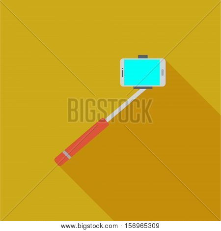 Vector illustration or icon showing selfie stick monopad for photo in flat style with long shadow