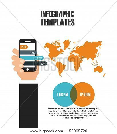 infographic presentation template with world map and hand holding a smartphone icon. colorful design. vector illustration