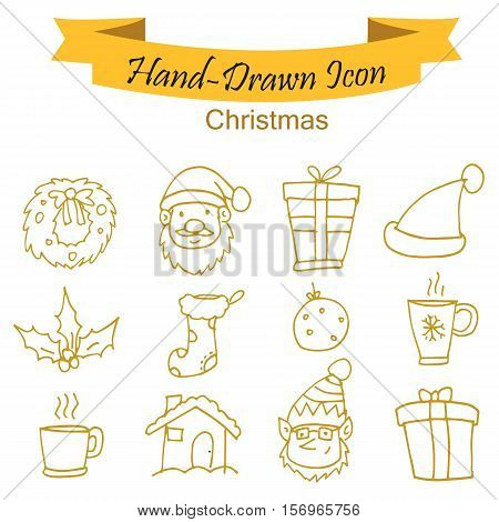 Yellow Christmas icons vector illustration collection stock