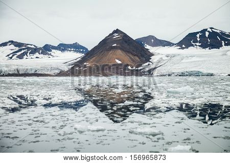 mountains glacier in arctic for background. In nature.