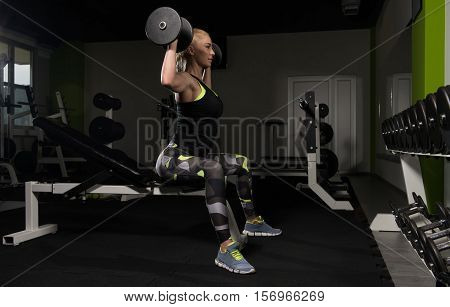 Woman Doing Shoulders Exercise With Dumbbells