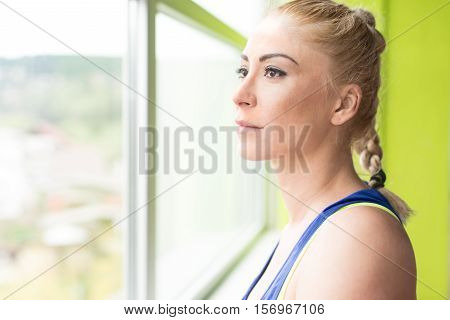 Fitness Woman Resting After Exercise