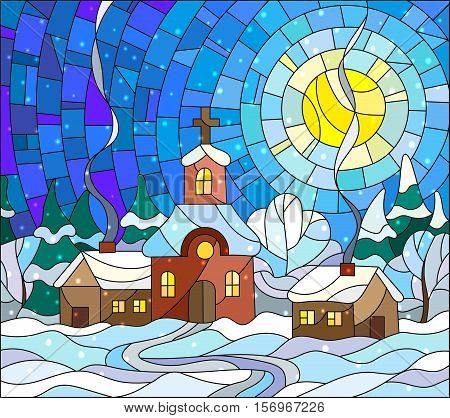 Winter landscape in stained-glass style Church and village houses on the background of snow sky and sun