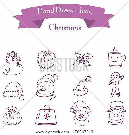 Icon of Christmas holiday vector collection stock
