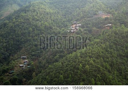 Remote villages of the mountains Mae Hong Son Thailand.