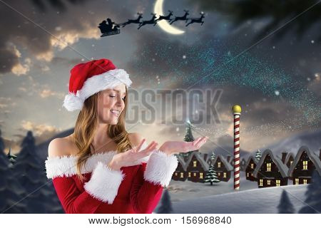 Beautiful woman pretending to hold during christmas time