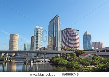 Partial Tampa Florida skyline with USF Park and commercial buildings
