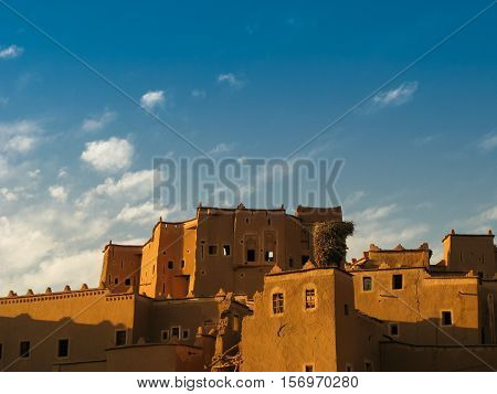 View to Ouarzazate old city aka kasbah and Crane nest Morocco