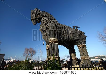 Monument of Trojan Horse in Canakkale cityi, Turkey.