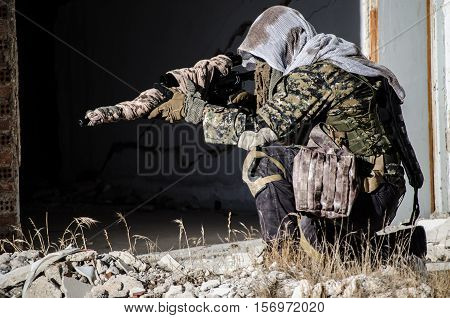 sniper aim target scope multicam ghillie suit