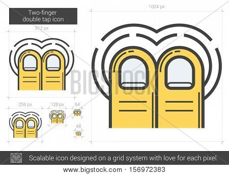 Two-finger double tap vector line icon isolated on white background. Two-finger double tap line icon for infographic, website or app. Scalable icon designed on a grid system.