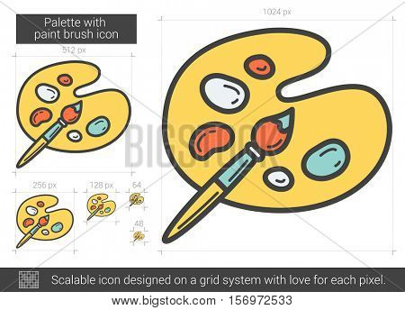 Palette with paint brush vector line icon isolated on white background. Palette with paint brush line icon for infographic, website or app. Scalable icon designed on a grid system.