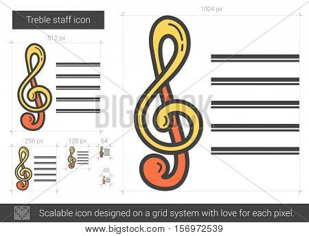 Treble staff vector line icon isolated on white background. Treble staff line icon for infographic, website or app. Scalable icon designed on a grid system.