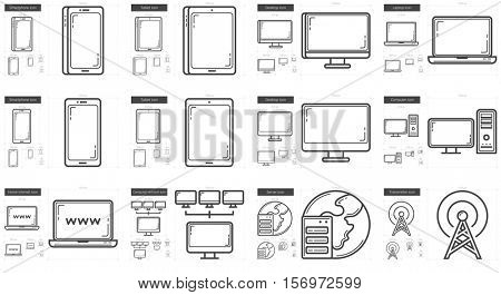 Gadgets vector line icon set isolated on white background. Gadgets line icon set for infographic, website or app. Scalable icon designed on a grid system.