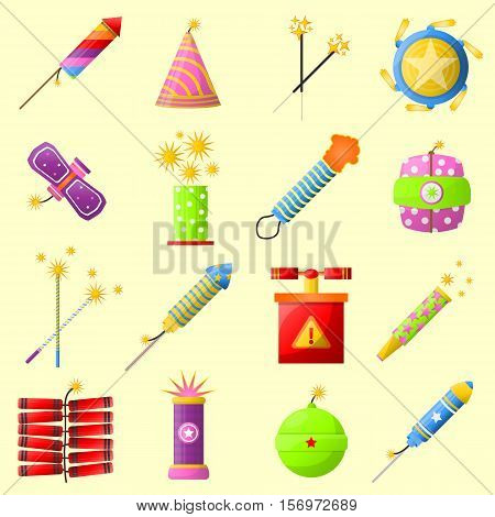 Colorful fire cracker collection for holiday fun. Vector Illustration.