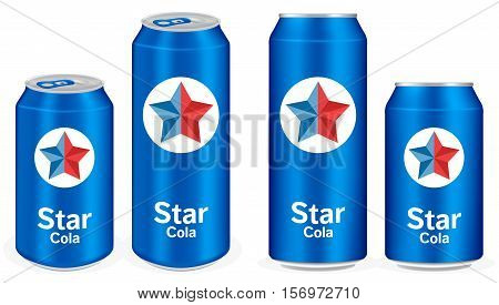 a blue cola aluminium soft drink cans vector