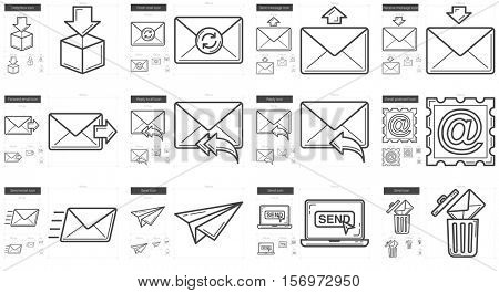 Email vector line icon set isolated on white background. Email line icon set for infographic, website or app. Scalable icon designed on a grid system.