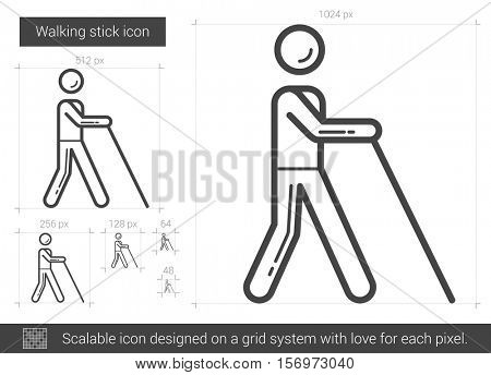 Walking stick vector line icon isolated on white background. Walking stick line icon for infographic, website or app. Scalable icon designed on a grid system.