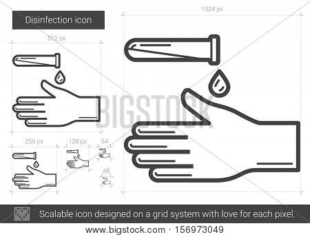 Disinfection vector line icon isolated on white background. Disinfection line icon for infographic, website or app. Scalable icon designed on a grid system.