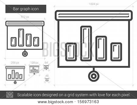 Bar graph vector line icon isolated on white background. Bar graph line icon for infographic, website or app. Scalable icon designed on a grid system.