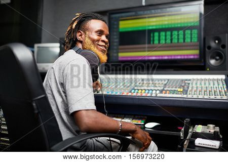 Working in sound record studio